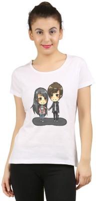 YFB Printed Women Round Neck White T-Shirt