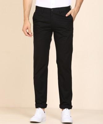 Peter England Slim Fit Men Black Trousers