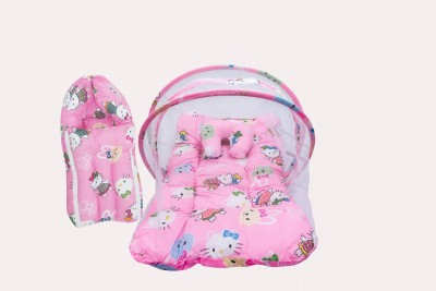 Miss & Chief Baby Combo Of Mattress With Mosquito Net & Sleeping Bag Polycotton Baby Bed & Sleeping Bag Polycotton Teddy Print