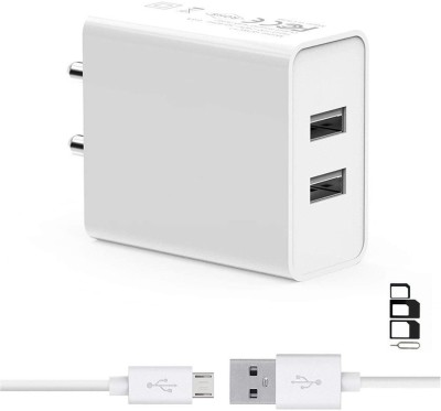 ShopsGeniune Wall Charger Accessory Combo for Samsung Galaxy Pop Plus S5570i Samsung Galaxy Pop SHV-E220 Samsung Galaxy Premier I9260 Samsung Galaxy Prevail 2, Samsung Galaxy Prevail LTE, Samsung Galaxy Pro B7510, Samsung Galaxy Proclaim S720C, Samsung Galaxy Q T589R, Samsung Galaxy Round G910S, Samsung Galaxy Round, Samsung Galaxy Rugby Pro I547, Samsung Galaxy Rush M830 Dual Port Charger Original Adapter Like Wall Charger, Mobile Power Adapter, Fast Charger, Android Smartphone Charger, Battery Charger, High Speed Travel Charger With 1 Meter Micro USB Cable Charging Cable Data Cable
