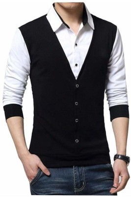 Try This Men Solid Casual Black Shirt