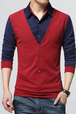 Try This Color Block Men Polo Neck Maroon, Blue T-Shirt