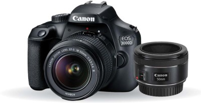 Canon EOS 3000D DSLR Camera Dual Kit with 18-55 mm + 50mm 1.8 STM lens (16 GB Memory Card & Carry Case)