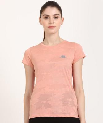 Lifestyle - Kappa Self Design Women Round Neck Pink T-Shirt