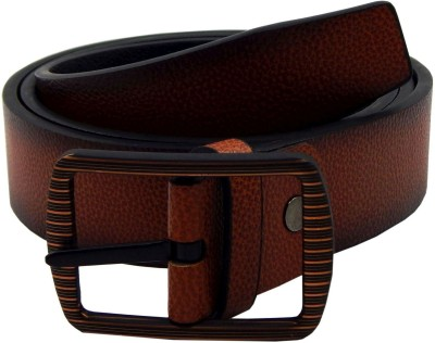 ELS Men Formal, Casual Tan, Black Artificial Leather, Texas Leatherite Reversible Belt