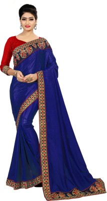 MISILY Solid Fashion Silk Blend Saree