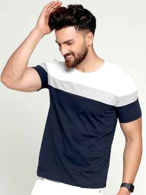 AUSK Color Block Men Round Neck Blue, White, Grey T-Shirt