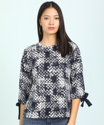 AND Casual 3/4 Sleeve Printed Women Dark Blue, White Top