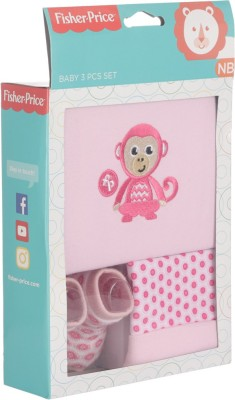 Fisher-Price Fisher Price Baby Gift Set Pack of 3 Pink (Monkey)