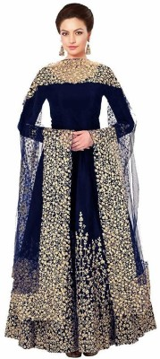 DHARMEE Poly Silk Embroidered Salwar Suit Material