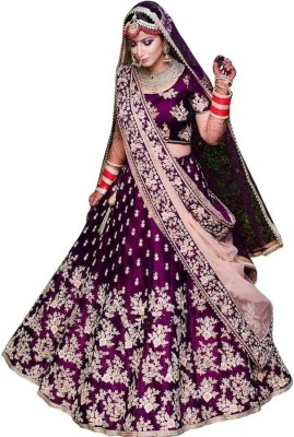Trilok Fab Embroidered Semi Stitched Lehenga, Choli and Dupatta Set