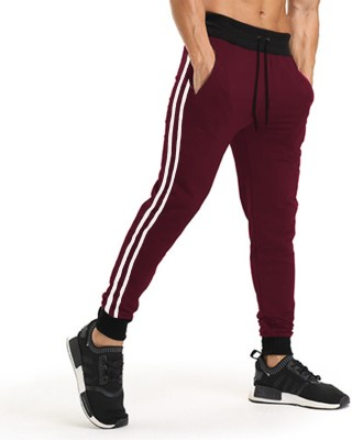Tripr Striped Men Maroon, Black, White Track Pants