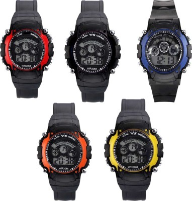 JK Enterprise New Stylish Digital Multicolor 5 lite Kids And Men 3 Combo NW-1258 Digital Watch  - For Boys