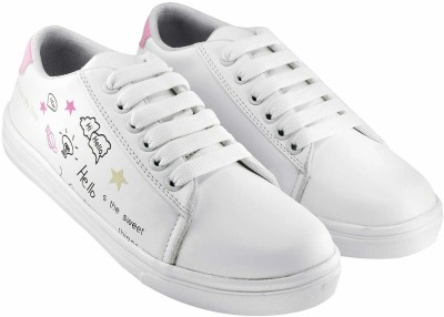 HASTEN Women's/Ladies/Female/Girls Trendy Fashionable Lightweight Comfortable Partywear, Casual wear Lace-Up Shoes Sneakers For Women(White, Pink) Sneakers For Women