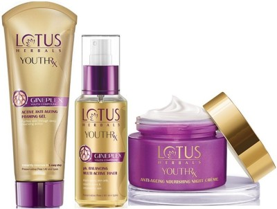 Lotus Herbals YouthRx Skincare Regime ( Foaming Gel & pH Balancing Multi Active Toner_100 ml & Nourishing Night Creme_50 gm )