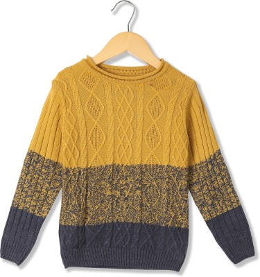 Cherokee Solid Casual Boys Yellow Sweater