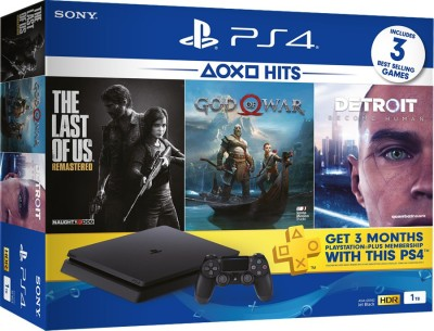 Sony PlayStation 4 1TB Console 1000 GB with God of War, Detroit: Become Human, The Last of Us Remastered