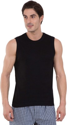 Jockey Solid Men Round or Crew Black T-Shirt