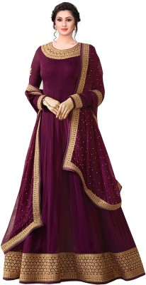 Fashionuma Faux Georgette Embroidered Gown/Anarkali Kurta & Bottom Material