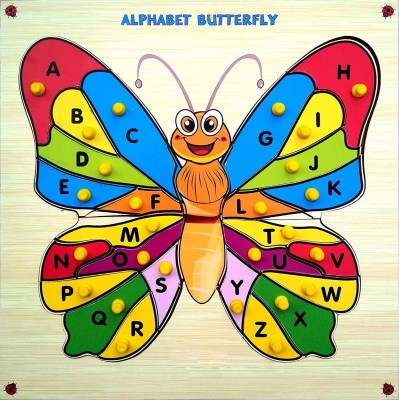 Miss & Chief Premium Wooden Learn Alphabets Butterfly Educational Puzzle Toy
