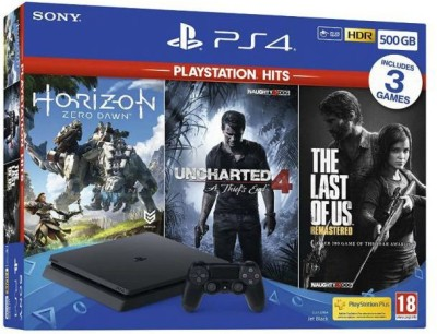 Sony PlayStation 4 1TB Console 500 GB with The Last Of Us Remastered, Horizon Zero dawn, Uncharted 4