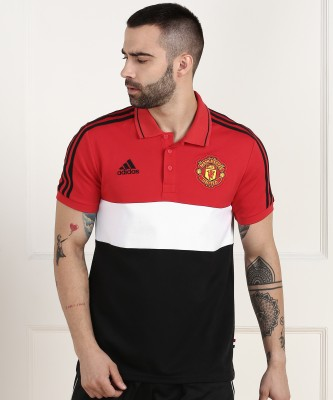 ADIDAS Color Block Men Polo Neck Red, Black T-Shirt