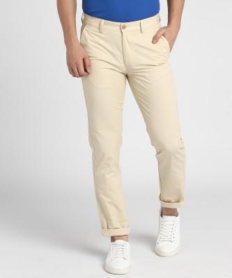 Peter England Slim Fit Men Beige Trousers