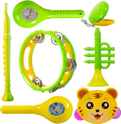 Wishkey Colourful Plastic BPA Free Non Toxic Musical Instruments Rattle Toy Maraca,Blowing Trumpets, Tambourines, Castanets for New Borns Baby Set of 7 Rattle