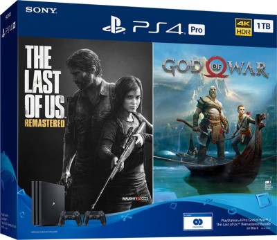 Sony PS4 Pro 1TB Console with Extra controller(Black) 1000 GB with The Last Of Us: Remastered, God of War