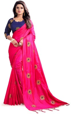 Kuvarbafashion Embroidered Fashion Poly Silk Saree