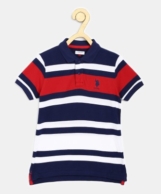 US Polo Kids Boys Striped Pure Cotton T Shirt