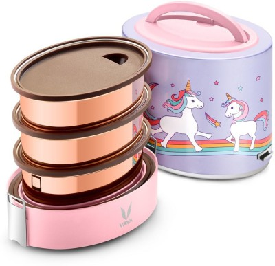 Vaya Tyffyn 1000 ml Unicorn Copper-Finished Stainless Steel Tiffin Box without BagMat (One 400 ml + Two 300 ml Containers) - 3 Containers Lunch Box