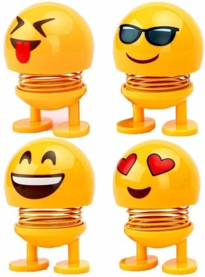 J Go The Business Hub Smiley Spring Doll, Cute Emoji Bobble Head Dolls Car Ornaments Bounce Toys