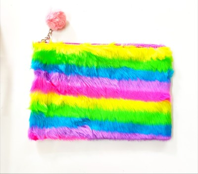 R H lifestyle Multipurpose Rainbow Soft Furry Plush Holographic Pouch with Pom Pom Key chain Pouch