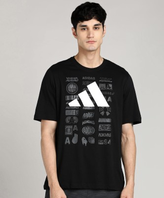 ADIDAS Graphic Print Men Round Neck Black T-Shirt