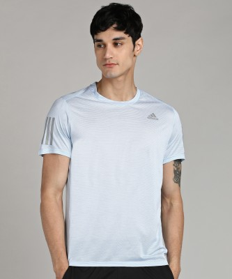 ADIDAS Self Design Men Round Neck Light Blue T-Shirt
