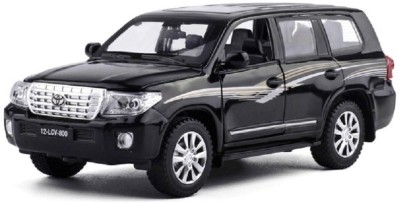 Mini Auto Black 1:32 Diecast Metal Body Land Cruiser Pull Back Car Toy with Openable Doors, Light and Sounds Effects