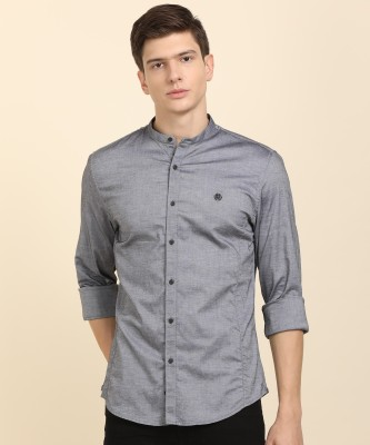 Peter England University Men Solid Casual Grey Shirt