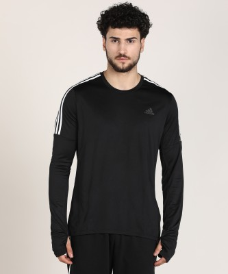 ADIDAS Self Design Men Round Neck Black T-Shirt