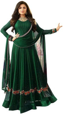 Fashion Basket Faux Georgette Embroidered Salwar Suit Material