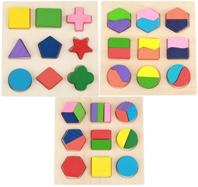 Trinkets & More Geometry Shape Sorter Puzzle Boards Matching Jigsaw Building Blocks Early