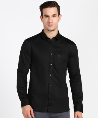 U.S. Polo Assn Men Solid Casual Black Shirt