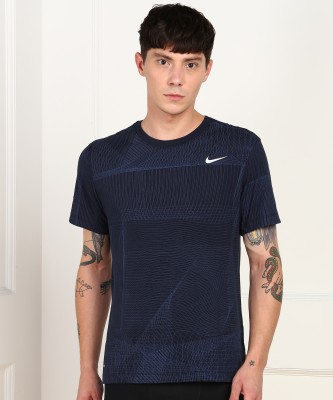 Nike Printed Men Round Neck Blue T-Shirt
