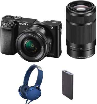 Sony Alpha ILCE-6000Y (With Headphone & Powerbank) Mirrorless Camera Body with Dual Lens : 16-50 mm & 55-210 mm