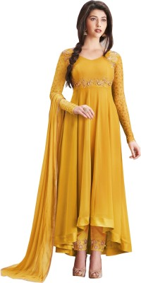 Fashionuma Faux Georgette Solid Gown/Anarkali Kurta & Bottom Material
