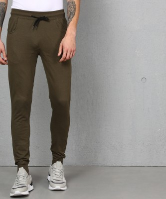 Metronaut Solid Men Dark Green Track Pants