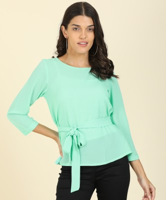 AND Casual 3/4 Sleeve Solid Women Light Green Top