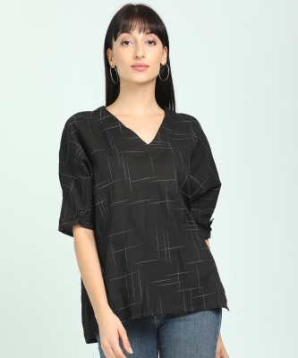 AND Casual Dolman Sleeve Printed Women Black Top