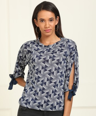 AND Casual Slit Sleeve Printed Women White, Blue Top