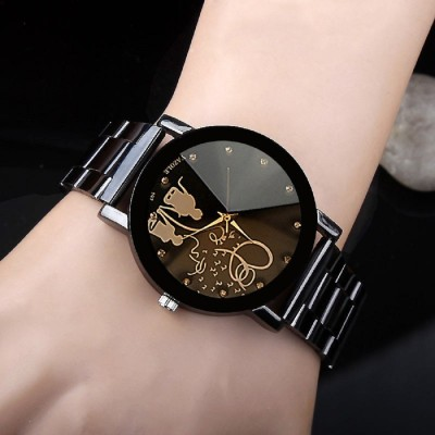 Skylofts Black Dial Stainless Steel Chrome Plated Women Watches & Girls watch Love Watch - For Girls Analog Watch  - For Women